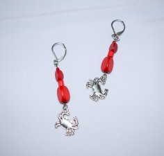Handmade red earrings, crab charm, vintage red wood and seed beads