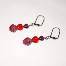 Handmade heart earrings, red and purple glass hearts, purple and red paper bead