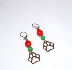 Handmade pawprint earrings, red rolled paper and green wood beads, pawprint charm