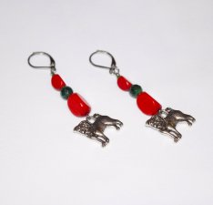 Handmade dog earrings, red wood and hai jade beads, dog charm