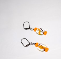 Handmade orange earrings orange glass rectangle beads, clear glass rectangle swirled with orange and brown