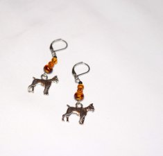 Handmade boxer earrings, tortoise shell beads, amber & black seed beads, boxer dog charm