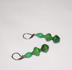 Handmade green earrings, green rolled paper beads, green rainbow seed beads