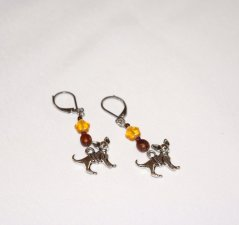 Handmade chihuahua earrings, brown wood, amber glass star, brown seed beads, chihuahua charm