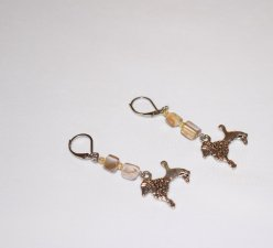 Handmade poodle earrings, silver beige mother of pearl chips and rainbow beige seed beads, poodle dog charm