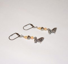 Handmade dog earrings, cream mother-of-pearl beads, silver heart bead, floppy ear dog charm