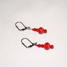 Handmade red earrings, rolled paper bead, red glass beads