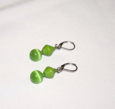 Handmade green earrings, green cats eye glass bead, green rolled paper bead, green seed beads