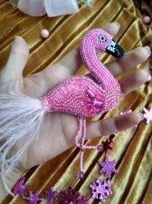 Pink beaded flamingo, brooch  crystal,brooch  pearls, dress shawl lapel pin, bird beadwork jewelry, girl badge pin,
