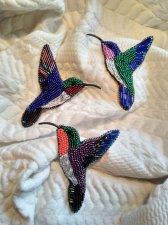 Brooch hummingbird. Brooch Bird. Blue gently pink Jewelry. Embroidery .Sweet beadwork . Gift for daughter. Boho Brooch.
