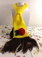 "Disney Collection - kids ""Beauty and the Beast"" Belle inspired scarf - crocheted yellow scarf with rose"