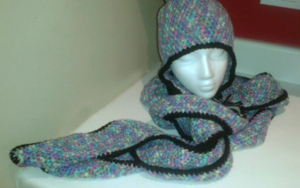 Set: Winter beanie with braids and pom pom and extra long curvy scarf