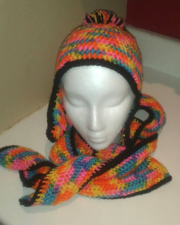 Set: Winter beanie with ear flaps and pom pom and extra long curvy scarf