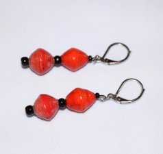 Handmade red orange earrings, rolled paper bicones , black seed beads