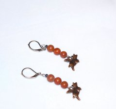 Handmade flying pig earrings, brown tigerskin jasper and copper winged pig charm