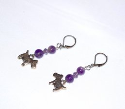Handmade amethyst dog earrings, amethyst beads, purple crystal,scottie dog charm