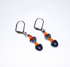 Handmade blue earrings, blue millefiori glass and resin hearts, orange carnelian beads