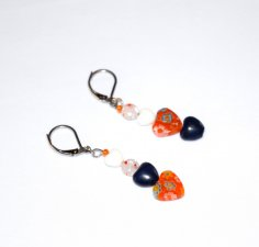 Handmade heart earrings, mismatched orange and white millefiori, whtie glass and blue resin hearts