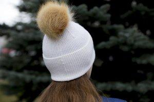 warm hat with fur pompom