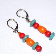 Handmade mismatched earrings, red and orange wood beads, turquoise resin rondelles