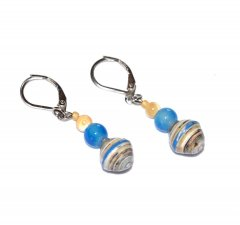 Handmade blue earrings, olympic blue beads, off-white and blue paper beads, tan  mother-of-pearl bead