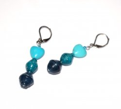 Handmade aqua earrings, turquoise resin heart, aqua and dark aquamarine paper beads