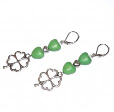 Handmade green earrings, clover hearts charm, antiqued silver heart  and green resin hearts