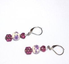 Handmade purple earrings, purple glass heart and flower, painted porcelain bead