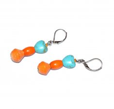 Handmade turquoise resin and apricot earrings, turquoise resin heart, apricot wood and paper beads
