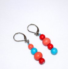 Handmade coral, red and blue earrings, mismatched painted wood beads in coral and red, blue magnesite beads