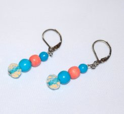 Handmade sky blue and coral earrings, coral wood and blue magnesite beads, bule lined E bead
