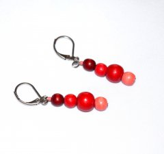 Handmade red and coral earrings, red and coral wood beads