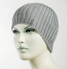 Gray knitted hat, spring and autumn accessory