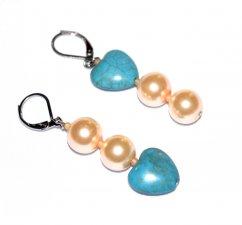 Handmade mismatched earrings, cadet blue resin heart, peach glass pearls