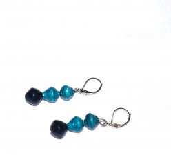 Handmade cyan earrings, blue green paper beads