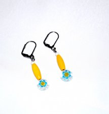 Handmade yellow earrings, yellow wood , cyan and yellow millefiori mismatched flower bead, white glass bead