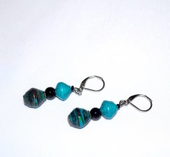 Handmade cyan and black earrings, black glass bead and cyan and black paper beads