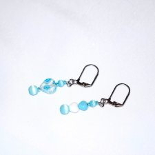 Handmade blue earrings, mismatched  blue, white and millefiori glass hearts, blue cats eye and seed beads