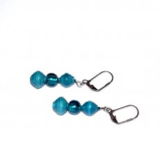 Handmade cyan earrings, cyan rolled paper beads, cyan glass round bead