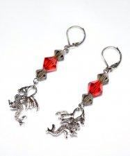 Handmade dragon earrings, red and black/grey crystals, dragon charm