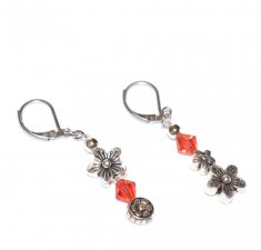 Handmade coral flower earrings mismatched with antiqued silver flower beads and a coral Czech faceted crystal