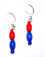 Handmade red & blue earrings, red wood and blue glass ovals, seed beads