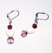 Handmade heart earrings, purple & white glass beads