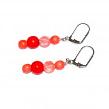 Handmade coral and red earrings, coral and red wood beads, clear with red coin bead