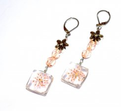 Handmade coral flowers earrings, flower pendant charm, coral glass beads, silver flower bead