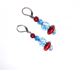 Handmade blue earrings, blue crystal beads, cranberry wood beads