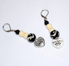 Handmade dog lover earrings, black and off-white glass, onyx, howlite and resin beads, heart pawprint charm