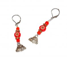 Handmade red car earrings, red millefiori and seed beads, brown glass rondelles and seed beads, VW bug type car charm