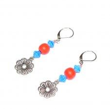 Handmade flower earrings, coral wood beads, blue Czech glass beads, flower charm