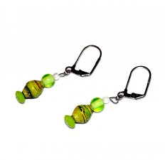 Handmade green earrings, lime green lampworked glass beads,and rolled paper bead,